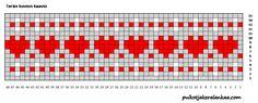 Sydän joulusukat terän kuvio Fair Isle Knitting Patterns, Knitting Charts, Knitting Socks, Knitted Hats, Crochet Skirts, Knit Crochet, Little Cotton Rabbits, Knit Stockings, Stitch Patterns