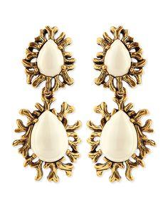 Oscar de la Renta Ivory Branch Cabochon Clip Earrings