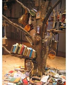 """a """"library tree"""" Maybe this could be INSIDE a fort built around a tree. feel like up a tree so confused about which way to go next"""