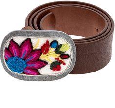 Pistil Embroidered Leather Belt