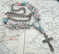 TOMORROW upcycle cross necklace floral pastel by lilyofthevally