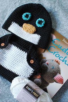Crochet baby penguin cap and diaper cover