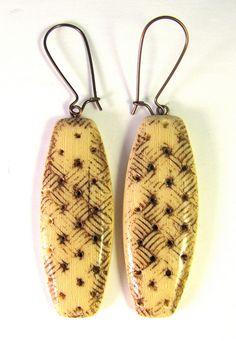 Faux Bone Basketweave Polymer Clay Earrings by DivaDesigns1, via Flickr