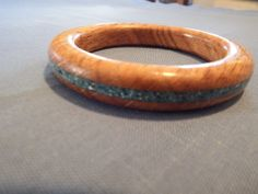 Turquiose Inlayed Wooden Bracelet by MikesWoodWorx on Etsy, $30.00
