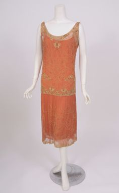 1920's French Gold Beaded Dress
