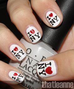 I'd probably just do this on the ring fingers and paint the rest red, but its super cute!