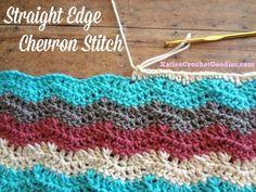Adding Straight Edge to Chevron Crochet by www.youtube.com/user/katiescrochetgoodies