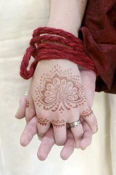 handfasting and henna:  Handfasting was a common marriage ritual in medieval Europe. Henna was a common medieval wedding practice of Islamic, Jewish, and Christian women in the Mediterranean regions. Both have been combined in neopagan ceremonies.