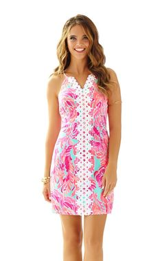 Pearl Lace Shift Dress - Lilly Pulitzer Poolside Blue Love Birds