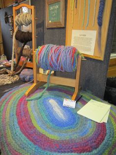 Lucet rug made with rug yarn and a bump holder for the alpaca yarn rug. Saw this at MDS&W - beautiful!