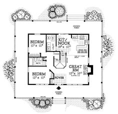 First Floor Plan of Country   Farmhouse  House Plan 90280