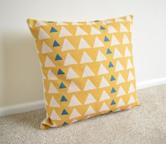 Yellow Triangles Geometric/Scandinavian Cotton Linen Cushion Cover 18 x 18""
