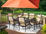 Dine in style with the Moreaux outdoor rectangular dining table. Its cast aluminum construction has the beautiful look of wrought iron yet is lighter in weight as well as corrosion-resistant for durability through the seasons. Coordinating Moreaux chairs and benches are available in multiple styles, so you can create your ideal look and comfort level for your deck or patio. And don't forget to add an umbrella to your table for protection on sunny days.