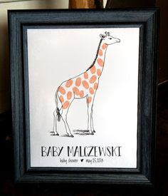 Giraffe Fingerprint Guest Sign-In by ohmygoodnesss on Etsy
