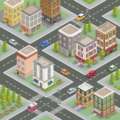 Isometric cityscape. isometric buildings... | Premium Vector #Freepik #vector #background #business #tree #car Isometric Art, Isometric Design, Building Illustration, City Illustration, Game Level Design, Game Design, Abstract Portrait Painting, Portrait Paintings, Acrylic Paintings