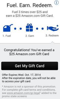 Earn a Free Amazon Gift Card by using the Exxon Mobile APP for Speedpass #speedpassapp #gas #gasrebates #freestuff