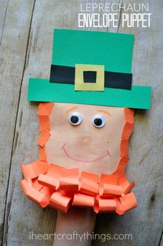 How to turn an Envelope into an Adorable Leprechaun Craft Puppet | I Heart Crafty Things