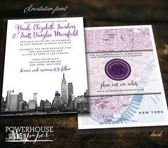 New York City Skyline and Map Wedding by PowerhousePaper on Etsy, $3.75