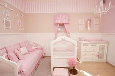 I love the way they did the striped wallpaper! Baby Nursery Decor, Baby Bedroom, Baby Decor, Nursery Room, Girl Nursery, Girls Bedroom, Nursery Themes, Girl Decor, Little Girl Rooms