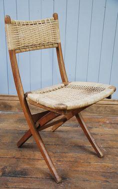 #Danish #MidCentury #Chair  #FoldAway #Woven #PaperCord #Teak #Desk #DinningChair