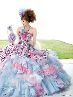 Colourful wedding dress.