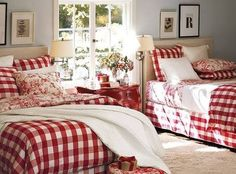 34 Perfect Decorating Christmas Bedroom Red And White - firstmine Red Bedroom Design, Bedroom Red, Bedroom Linens, Plaid Bedroom, Red Bedrooms, Comfy Bedroom, Extra Bedroom, Bedroom Modern, Double Bedroom