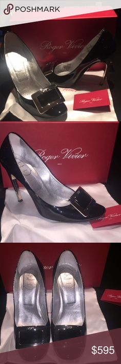 """ROGER VIVIER HEELS SZ 40.5 Authentic black patent sexy classy pumps. Silver buckle with initials in letterR.V. This designer became famous because of French actresses Catherine Deneuve. Preowned very good condition bought at Neiman Marcus, 4"""" heels in silver Roger Vivier Shoes Heels"""