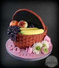 A friend asked me to make a cake for his Grandma's birthday. In her younger years, she used to be a cake decorator herself, so, no pressure… This was my first time doing fondant basket weave and took quite a bit longer than I expected, but I. 3d Cakes, Fondant Cakes, Cupcake Cakes, Crazy Cakes, Fancy Cakes, Realistic Cakes, Gravity Defying Cake, Buttercream Flowers, Little Cakes