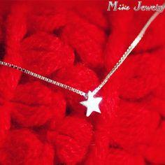 925 Sterling Silver Necklaces Star Pendant Necklace women Collar Colar de Plata  #jewelry #earrings #designerdivajewelry #chain #jewelrysets #jewellery #weddingjewelry #bracelets #rings #weddingbands