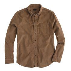 J.Crew men's fine-wale corduroy shirt in driftwood.