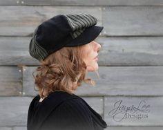 Patchwork Newsboy Hat Black Corduroy Green by GreenTrunkDesigns