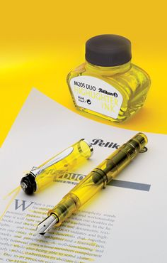 Pelikan fountain pen highlighter. I'm more of a sticky note and marginalia scribbler than a highlighterer, but this is pretty cool.