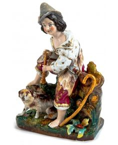 A PORCELAIN FIGURE OF A PASTOR BOY WITH HIS DOG, POSSIBLY KORNILOV BROTHERS PORCELAIN FACTORY, 1800s