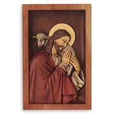 Cedar relief panel, 'Blessed Good Shepherd' - Hand Carved Wood Relief Wall Panel With Bronze Leaf