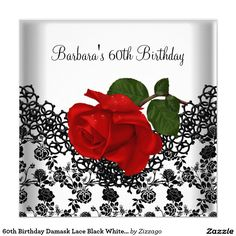 60th Birthday Damask Lace Black White RED Rose 5.25x5.25 Square Paper Invitation Card