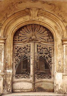 I'd like to do a European tour for all the Art Nouveau architecture! Art nouveau door in Schöneberg in West Berlin Cool Doors, The Doors, Unique Doors, Windows And Doors, Front Doors, Beautiful Architecture, Architecture Design, Building Architecture, Beautiful Buildings