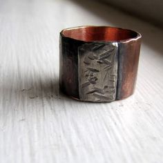 Mens ring of rustic copper and sterling by tinahdee on Etsy, $115.00