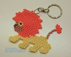 Beaded Lion in brick stitch. Free detailed tutorial.