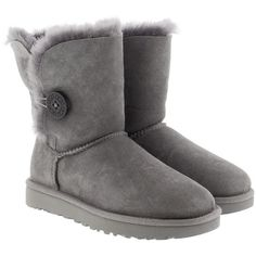 UGG Boots & Booties - W Bailey Button II Grey - in grey - Boots &... ($260) ❤ liked on Polyvore featuring shoes, boots, ankle booties, ugg, ankle boots, grey, ugg® bootie, gray booties, short boots and flat ankle bootie