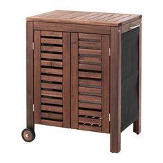 IKEA - ÄPPLARÖ / KLASEN, Armario ext, tinte marrón, , El armario ÄPPLARÖ/KLASEN ofrece un espacio adicional de almacenaje que puede moverse cómodamente de un sitio a otro.Es muy útil cerca de la barbacoa ÄPPLARÖ/KLASEN para apoyar fuentes o accesorios.Para prolongar la duración y conservar el aspecto natural de la madera, el mueble ha sido tratado con varias capas de barniz para madera semitransparente.