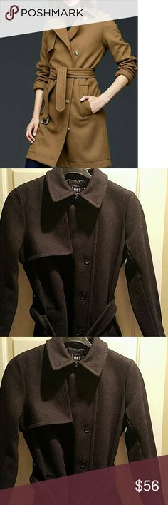 """Chic BLACK Trench Coat NEW stunning BLACK wool blend trench coat. Stylish 5 button double breasted with belted waist. 3/4 sleeves, pockets & split.   82% Wool, 18% Acrylic, 100% Polyester  lining  39"""" long  17.5"""" across shoulders 21.5"""" armpit to armpit (bust) GAP Jackets & Coats Trench Coats"""