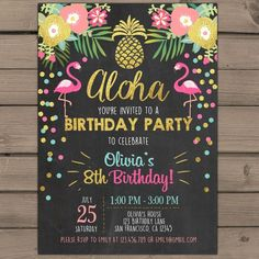 Items similar to Flamingo party invitation Tropical Birthday Invitation luau birthday party Flamingo pool party Pink mint Gold Digital PRINTABLE ANY AGE ftp on Etsy 30th Party, Luau Party, First Birthday Parties, First Birthdays, Luau Birthday Invitations, Party Invitations, Flamingo Party, Flamingo Pool, Tropical Party