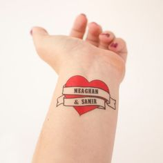 Heart Temporary Tattoos, Retro Sailor Jerry Tattoos & party favors, Pack of 15 Custom Tattoo Wedding Favors