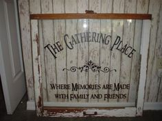 old windows with vinly writing | The Gathering Place vinyl lettering wall words Quotes decals