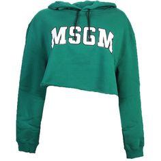 Logo Printed Cotton Sweatshirt (665 RON) ❤ liked on Polyvore featuring tops, hoodies, sweatshirts, green, msgm sweatshirt, cut-out crop tops, logo sweatshirts, blue sweatshirt and msgm