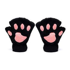 Odema Women Cute Cat Paw Fingerless Mitten Gloves ($7.44) ❤ liked on Polyvore featuring accessories, gloves, cat mittens, fingerless gloves, cat gloves, fingerless mitten gloves and mitten gloves