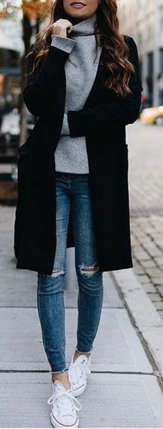 / Gray Turtleneck Sweater + Black Coat The post The Definite Guide to Winter Outfits 55 Outfits To Wear NowWachabuy appeared first on Woman Casual - Woman Dresses Mode Outfits, Fall Outfits, Casual Outfits, Fashion Outfits, Womens Fashion, Fashion Clothes, Dress Casual, Winter Outfits Casual Cold, Casual Summer
