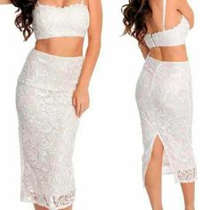 Lace two piece midi skirt & crop top Very cute and form fitting two piece set ! NEVER worn bc its too small for me :( bought straight from Durrani Popal !!!! Skirts Midi
