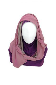 Purple Luv Hijab Hijab description      Hijab Material: Double-sided Chiffon Silk     Hijab Color: Purple and Grey     Underscarf Material: Rayon Jersey Knit     Underscarf Color: Purple  http://hijabila.com/product/purple-luv-hijab/