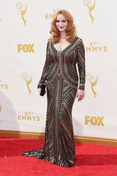 Actress Christina Hendricks attends the 67th Annual Primetime Emmy Awards at Microsoft Theater on September 20, 2015 in Los Angeles, California.